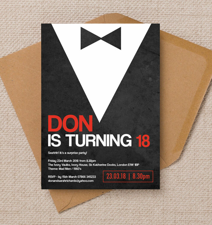 Mad men inspired 18th birthday party invitation from 100 each mad men inspired 18th birthday party invitation filmwisefo