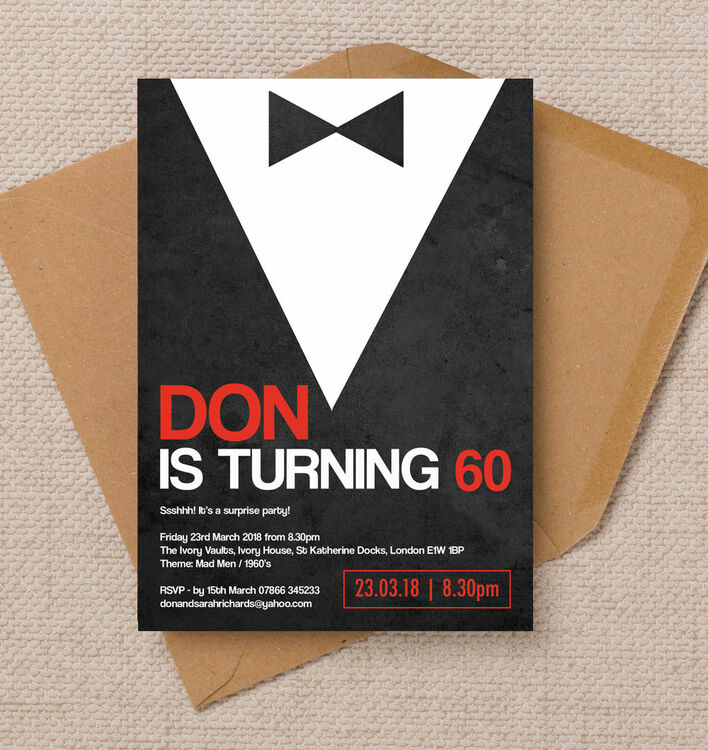 Black Tie Themed 60th Birthday Party Invitation from £1.00 each