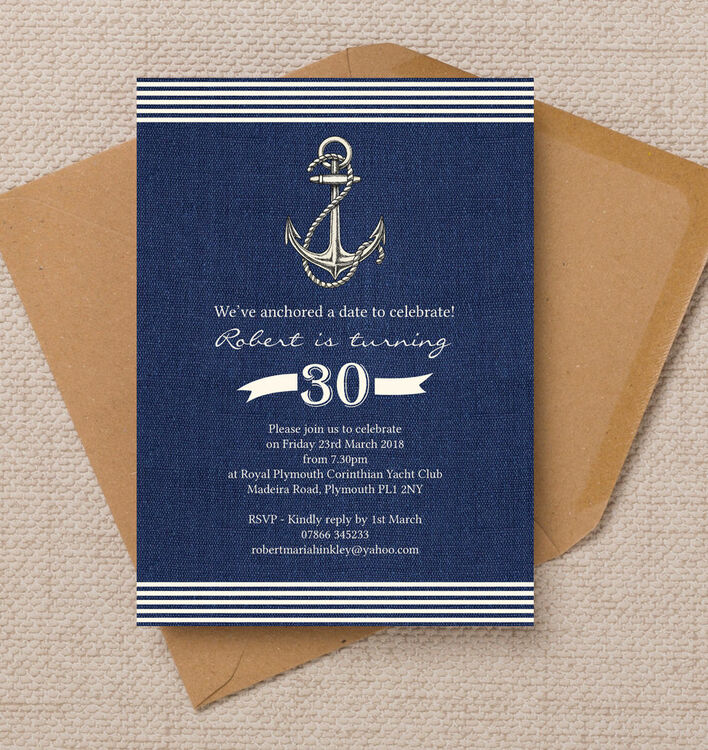 Birthday Party Yacht: Nautical / Sailing Themed 30th Birthday Party Invitation