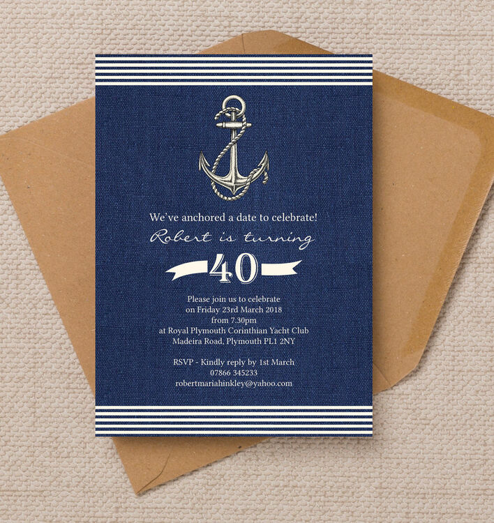 Nautical / Sailing Themed 40th Birthday Party Invitation from £1.00 each