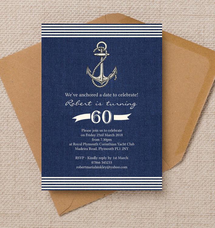 Nautical Sailing Themed 60th Birthday Party Invitation