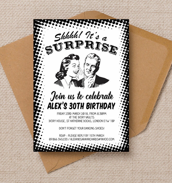 Retro Surprise 30th Birthday Party Invitation from £1.00 each