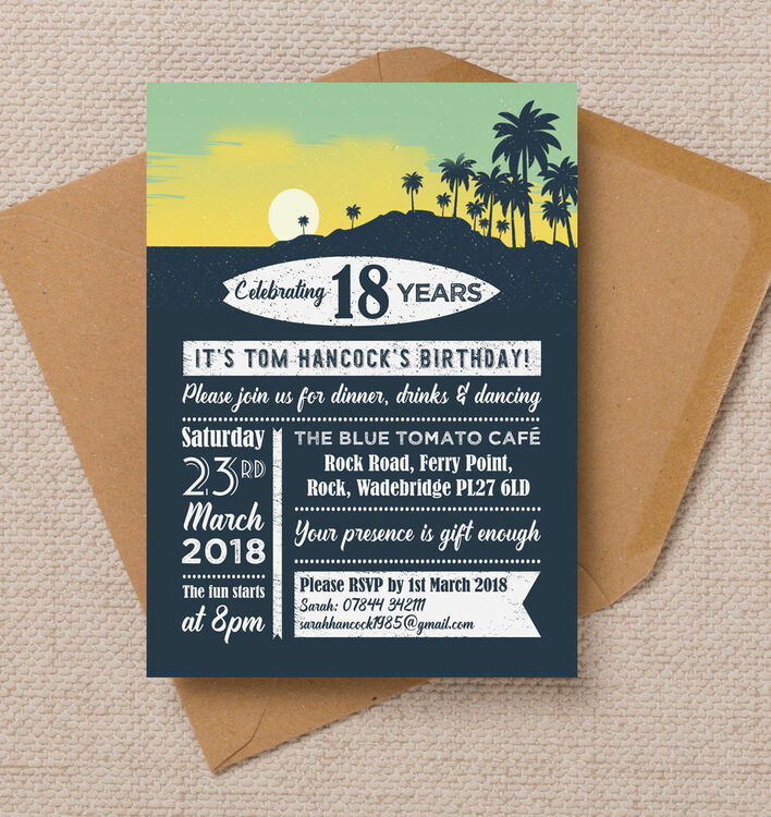 Surf hawaiian themed 18th birthday party invitation from 100 each surf hawaiian themed 18th birthday party invitation stopboris Image collections