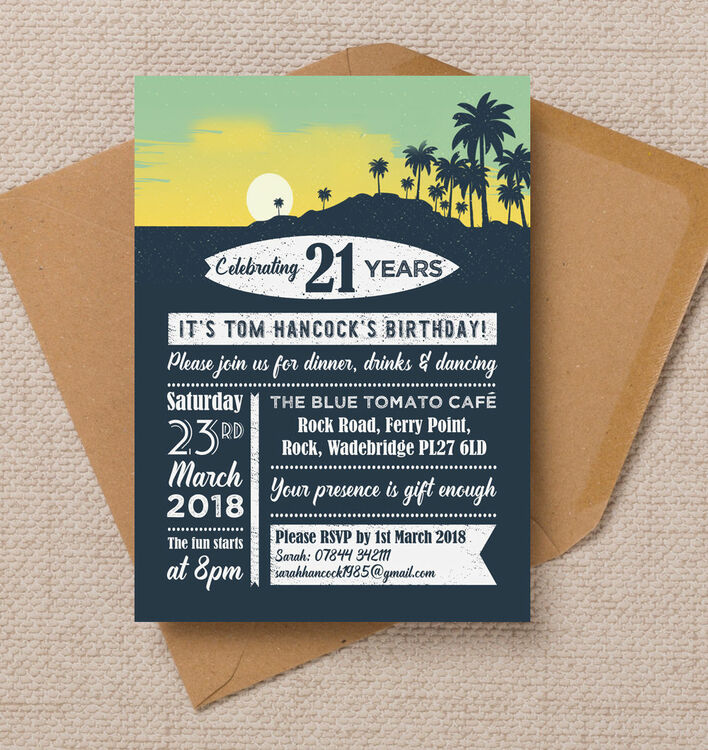 Surf / Hawaiian Themed 21st Birthday Party Invitation from £1.00 each