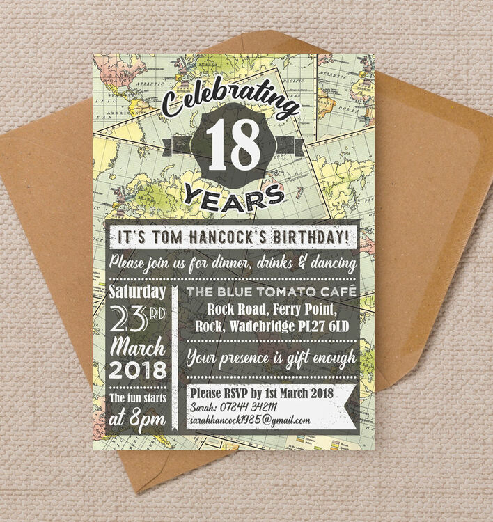 Travel / World Map Themed 18th Birthday Party Invitation
