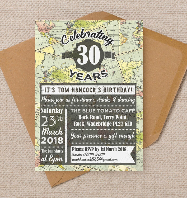 Travel World Map Themed 30th Birthday Party Invitation From 090 Each