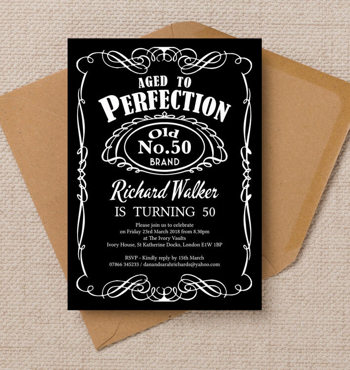 Whiskey Label Themed 50th Birthday Party Invitation
