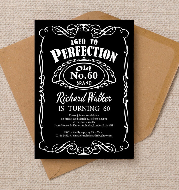 Whiskey Label Themed 60th Birthday Party Invitation from £1.00 each