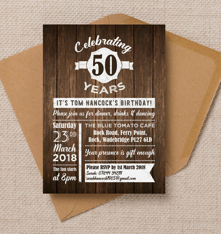Rustic Wooden Background 50th Birthday Party Invitation From 0 90 Each