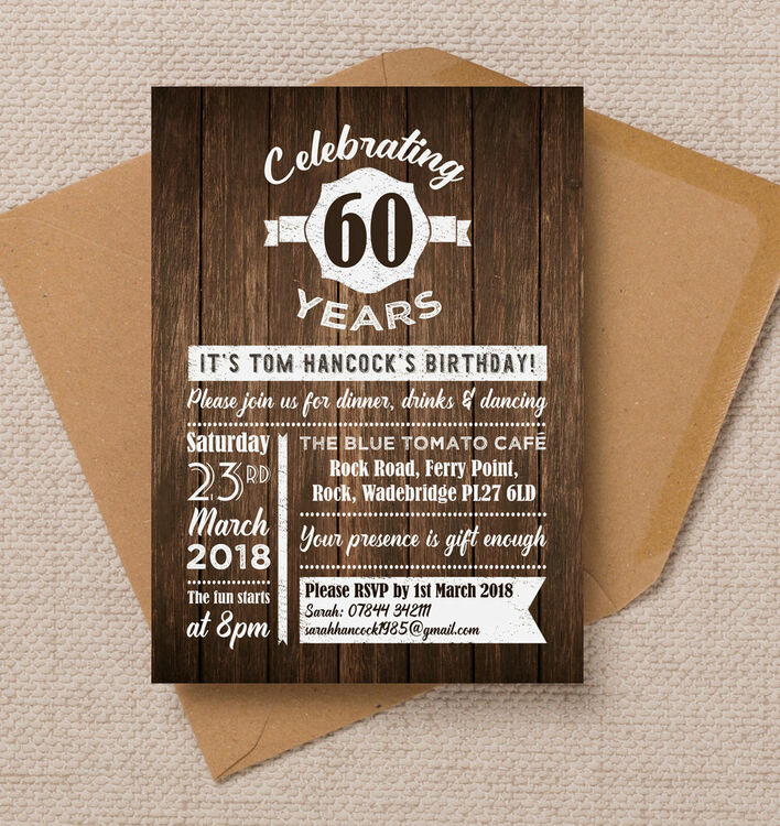 rustic wooden background 60th birthday party invitation from 0 90 each