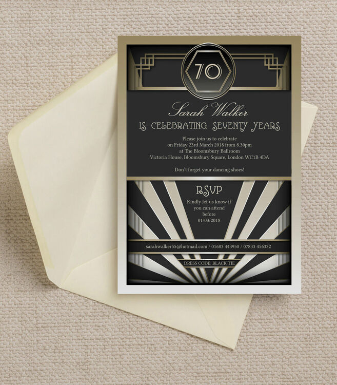 Black & Gold Art Deco 1920s 70th Birthday Party Invitation from £0.90 each