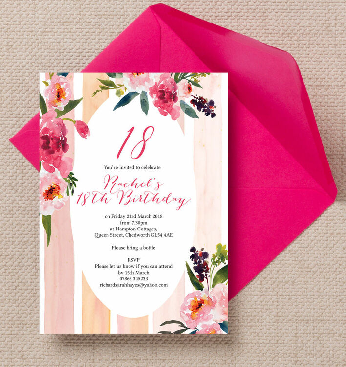 Painted Peonies Floral 18th Birthday Party Invitation from £1.00 each