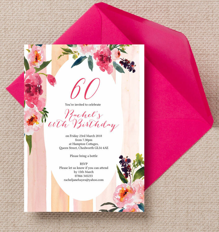 Painted Peonies Floral 60th Birthday Party Invitation from £1.00 each