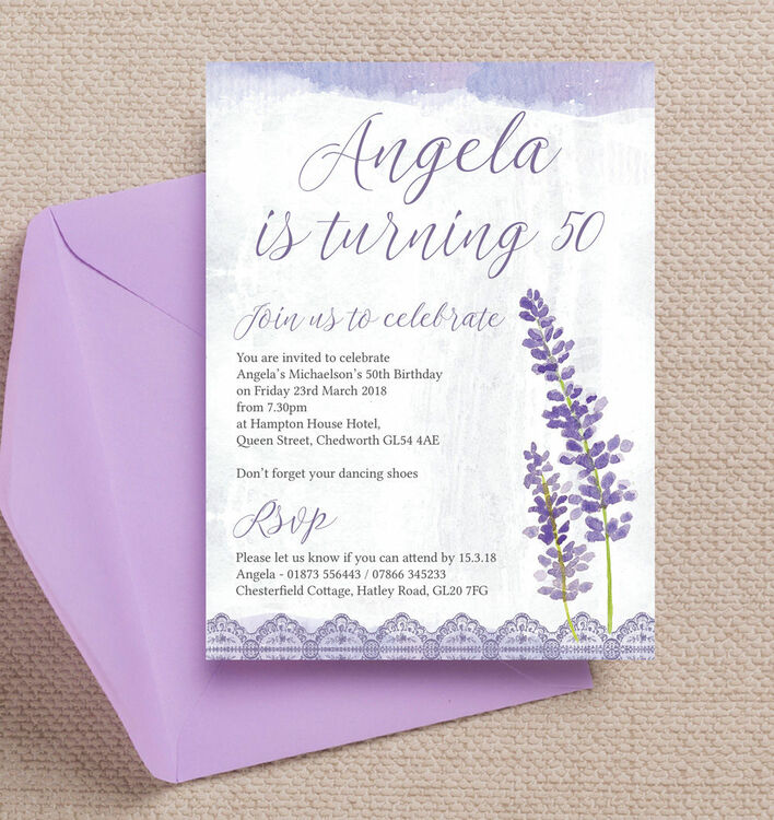Lilac & Lavender Themed 50th Birthday Party Invitation from £1.00 each