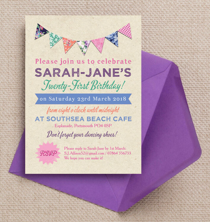 Rustic Colourful Bunting 21st Birthday Party Invitation from £1.00 each