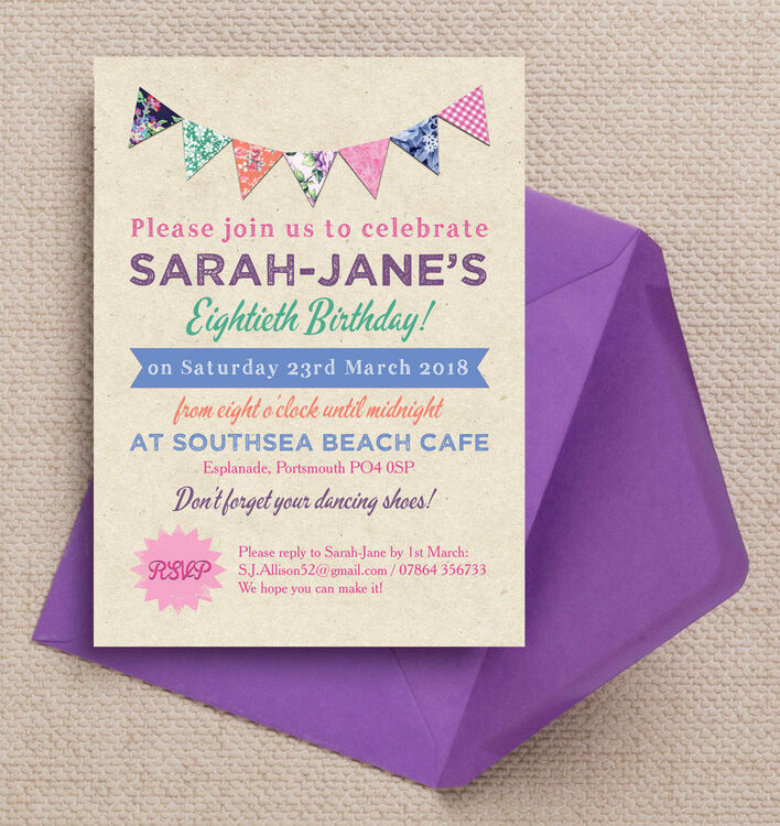 Rustic Colourful Bunting 80th Birthday Party Invitation from £1.00 each