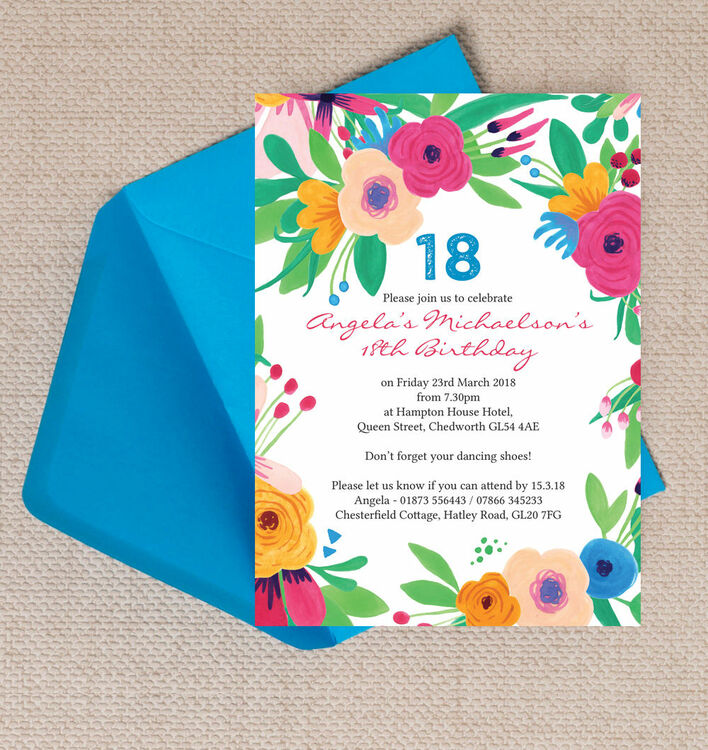 Bright Floral Fiesta 18th Birthday Party Invitation from £1.00 each