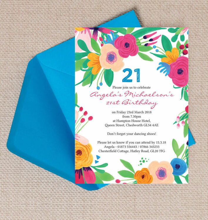 Bright Floral Fiesta Birthday 21st Birthday Party Invitation from ...