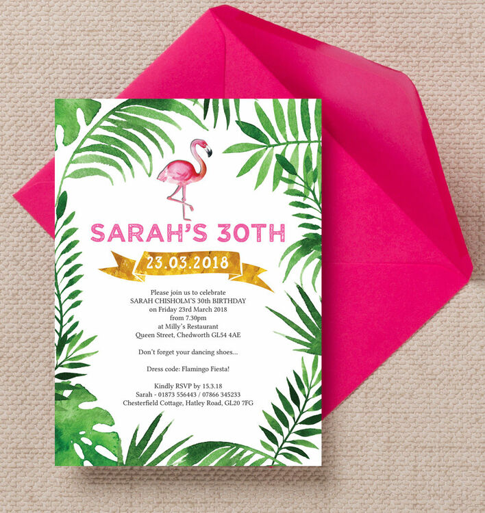 pink flamingo tropical themed 30th birthday party invitation from