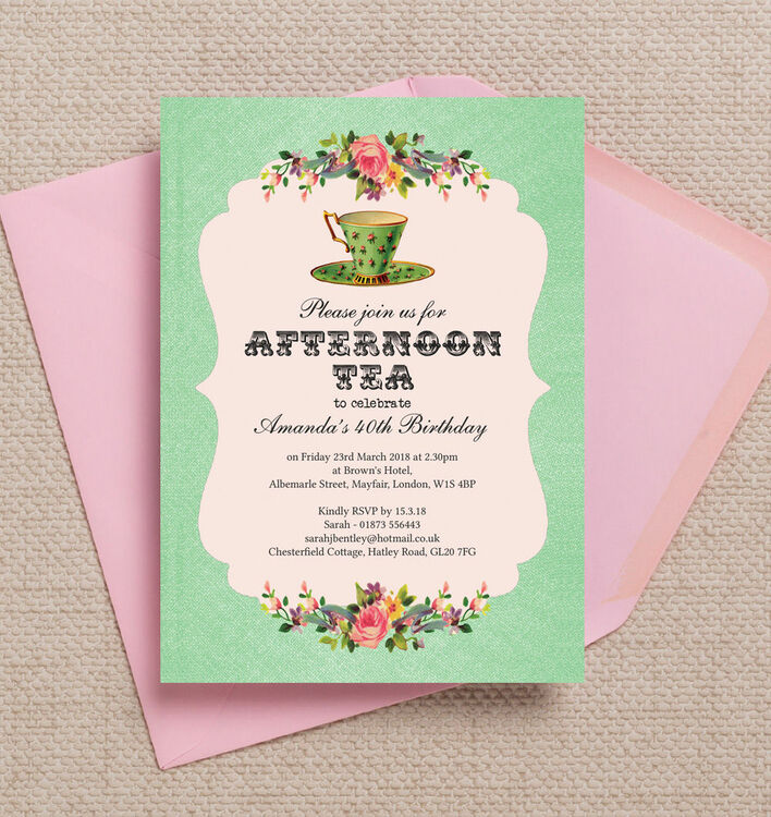 Vintage Afternoon Tea Themed 40th Birthday Party Invitation