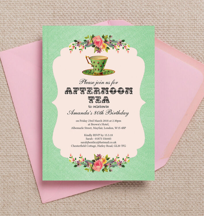 vintage afternoon tea themed 80th birthday party invitation from