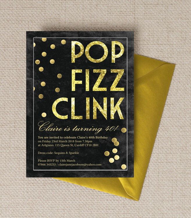 Pop Clink Fizz Champagne Prosecco Themed 40th Birthday Party Invitation