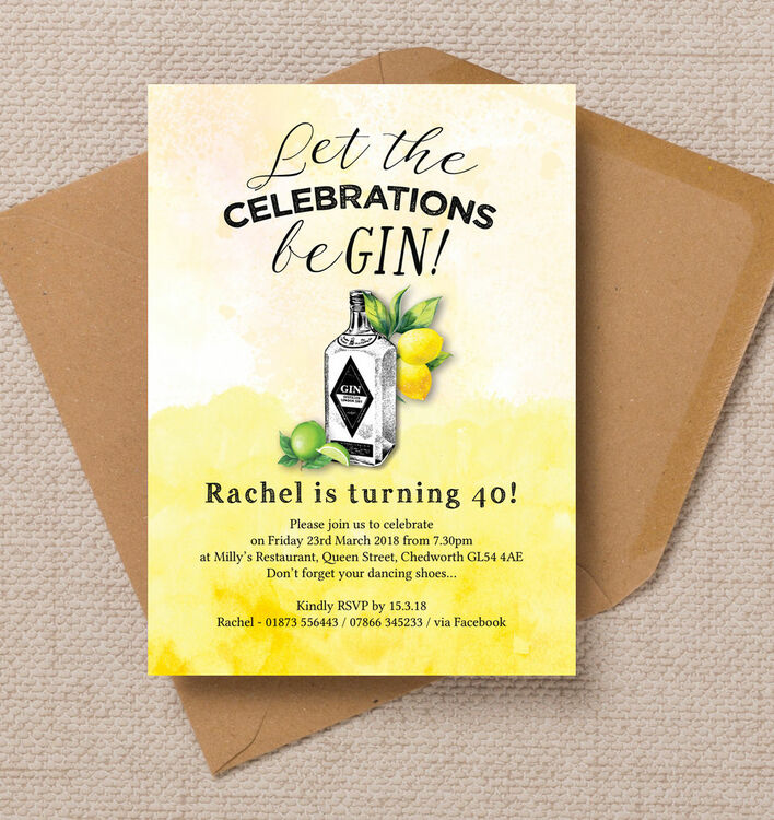 Gin & Tonic Themed 40th Birthday Party Invitation from £1.00 each
