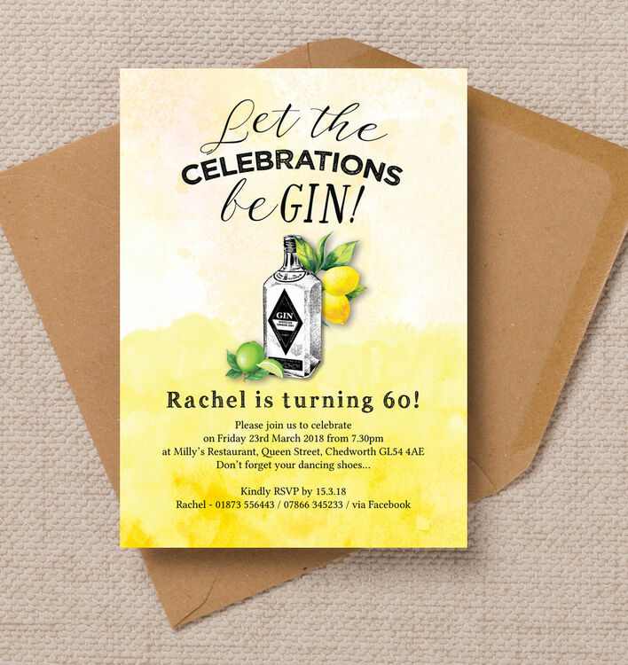 Gin Tonic Themed 60th Birthday Party Invitation