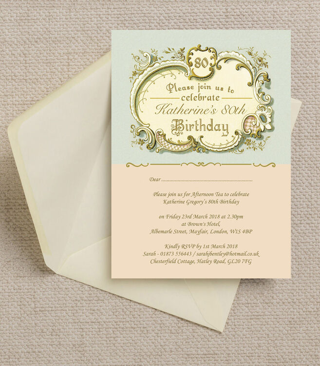 Antique Vintage Style Blue and Peach 80th Birthday Party