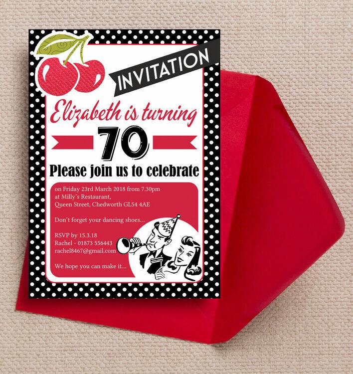 Retro rockabilly motown 1960s themed 70th birthday party retro rockabilly motown 1960s themed 70th birthday party invitation filmwisefo