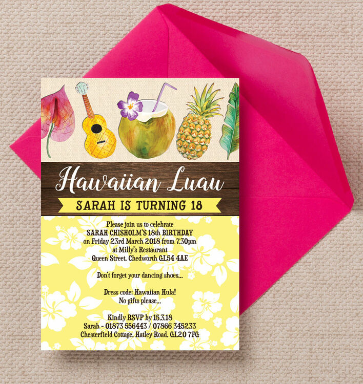 Hawaiian Luau Tropical Themed 18th Birthday Party Invitation from