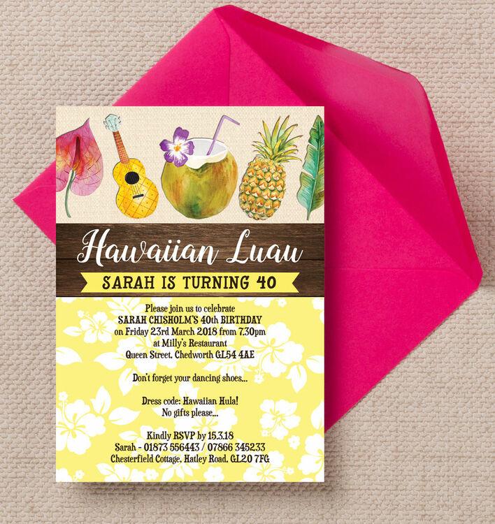 Hawaiian luau tropical themed 40th birthday party invitation from hawaiian luau tropical themed 40th birthday party invitation stopboris Choice Image
