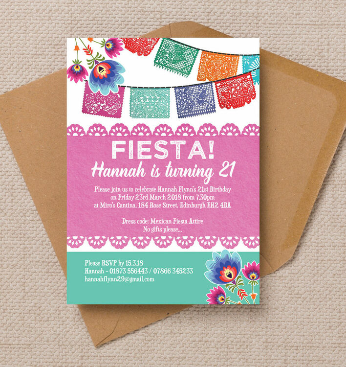 Mexican Fiesta Themed 21st Birthday Party Invitation from £1.00 each