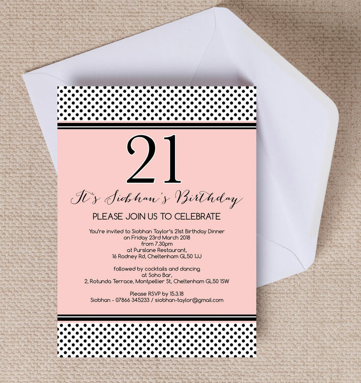 Blush Pink & Black Polka Dot 21st Birthday Party Invitation from ...