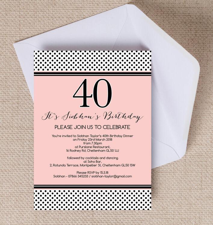 40th bday party invitations