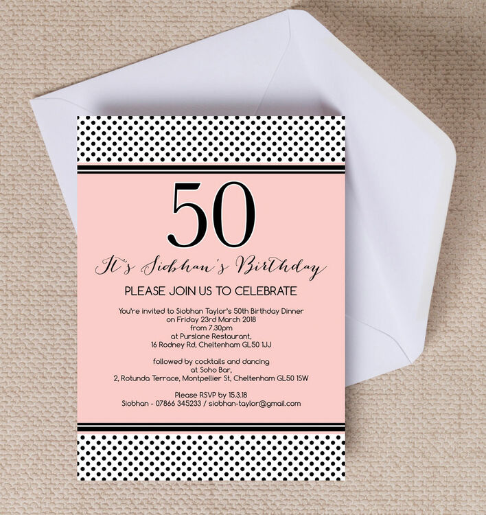 Blush pink black polka dot 50th birthday party invitation from blush pink black polka dot 50th birthday party invitation filmwisefo