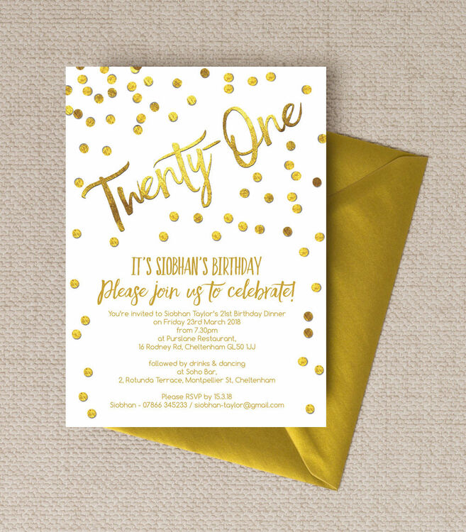 Gold Calligraphy & Confetti 21st Birthday Party Invitation from ...