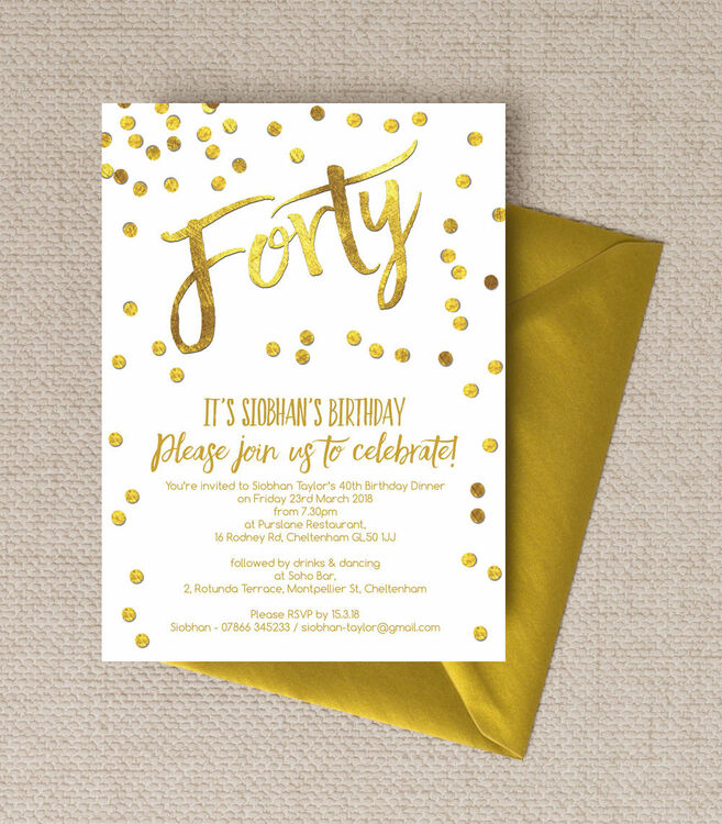 Gold Calligraphy Amp Confetti 40th Birthday Party Invitation