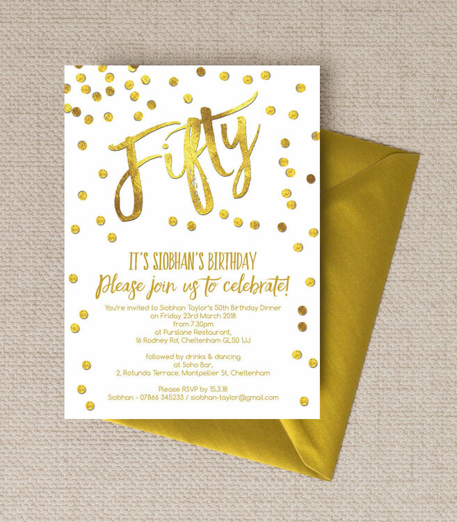 gold calligraphy confetti 50th birthday party invitation from
