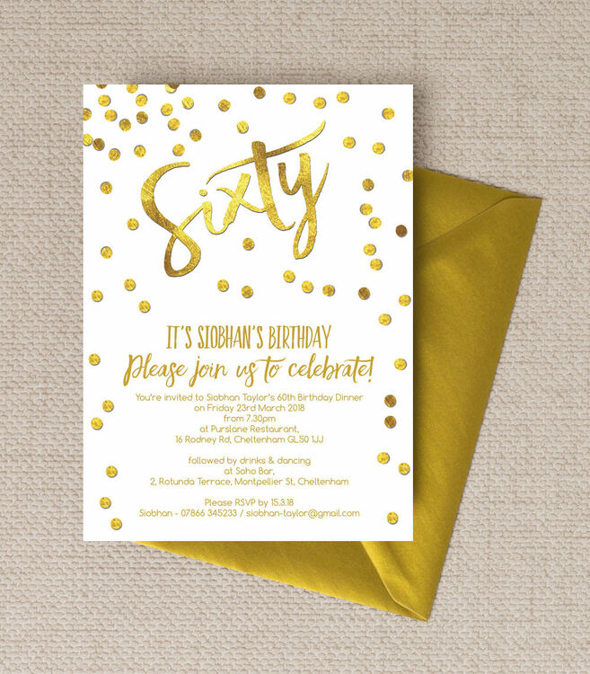 Gold Calligraphy Confetti 60th Birthday Party Invitation From GBP090 Each