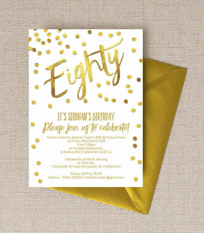 Gold Calligraphy & Confetti 80th Birthday Party Invitation