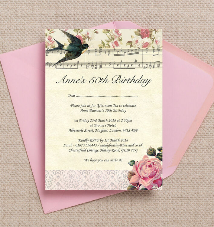 Vintage Scrapbook Style 50th Birthday Party Invitation from £1.00 each