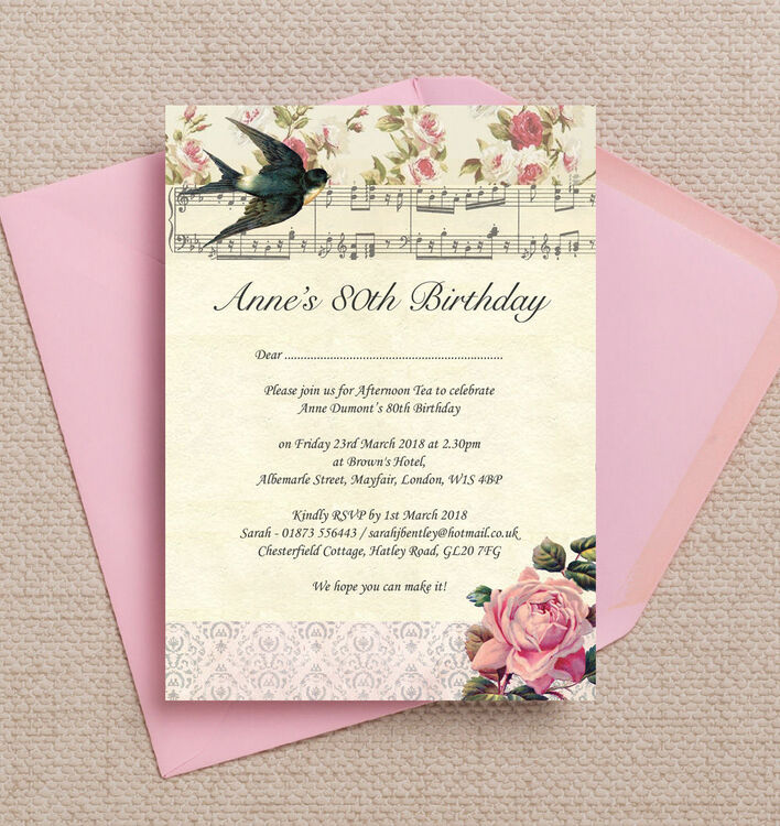 Vintage Scrapbook Style 80th Birthday Party Invitation