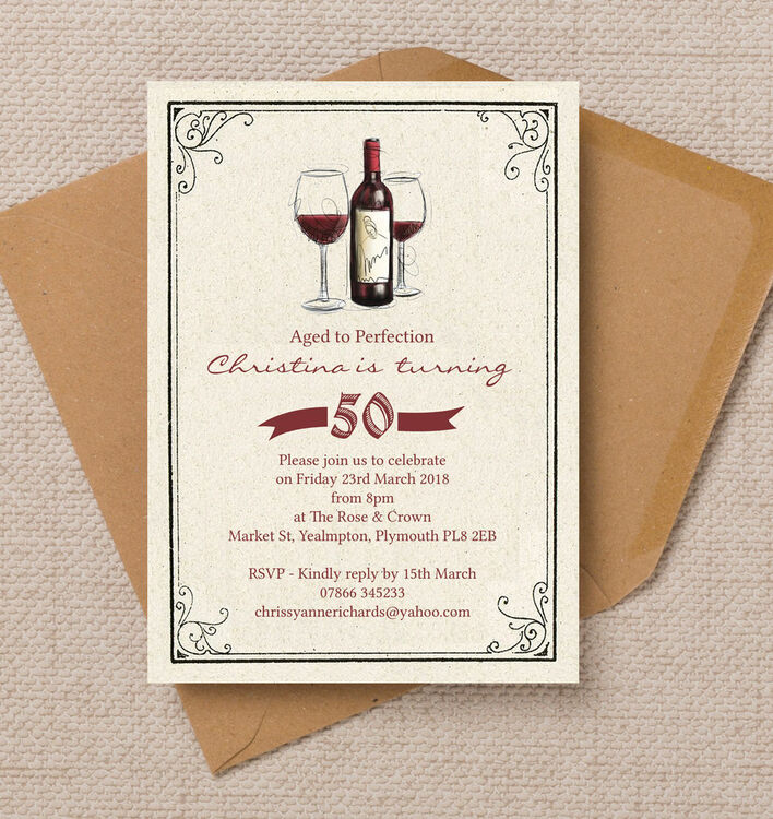 Vintage Red Wine Themed 50th Birthday Party Invitation from £1.00 each
