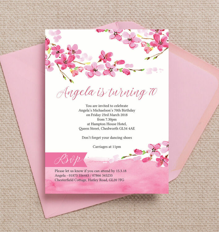 Cherry Blossom Pink Floral 70th Birthday Party Invitation from ...