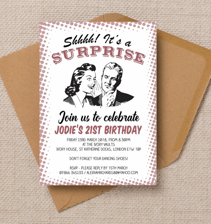 Retro Surprise Ladies 21st Birthday Party Invitation from £1.00 each