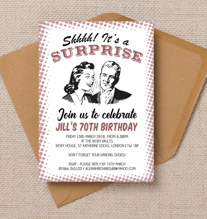Retro Surprise Ladies 70th Birthday Party Invitation from £1.00 each