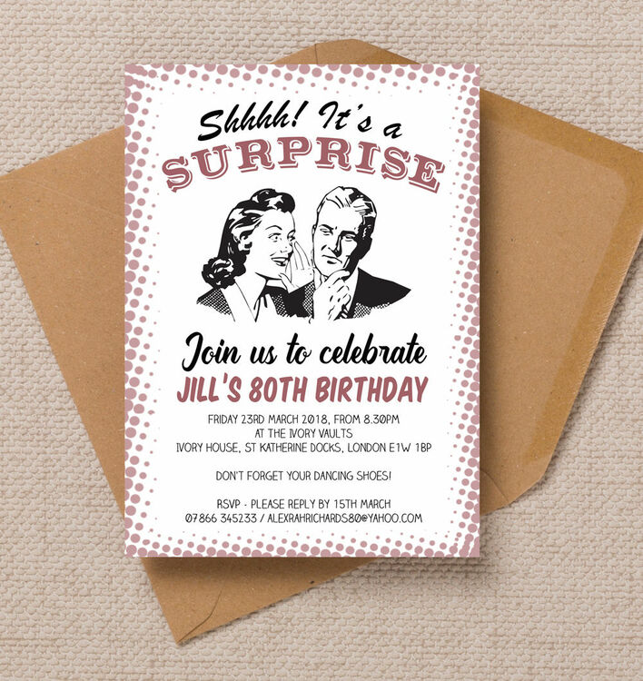 Retro surprise ladies 80th birthday party invitation from 090 each retro surprise ladies 80th birthday party invitation filmwisefo