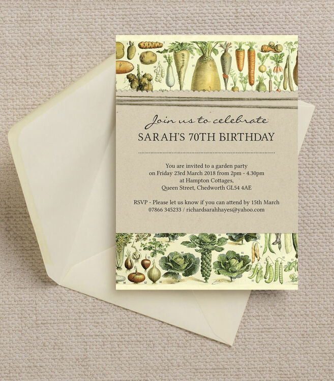 Gardening / Allotment Themed Ladies 70th Birthday Party Invitation ...