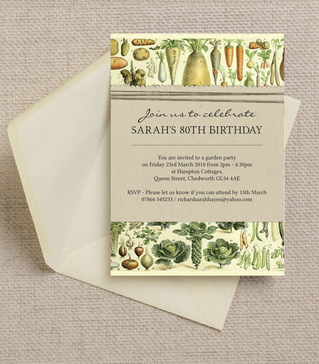 Gardening allotment themed ladies 80th birthday party invitation gardening allotment themed ladies 80th birthday party invitation additional 1 filmwisefo Image collections